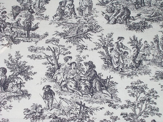 waverly fabric toile rustic life black white decorator
