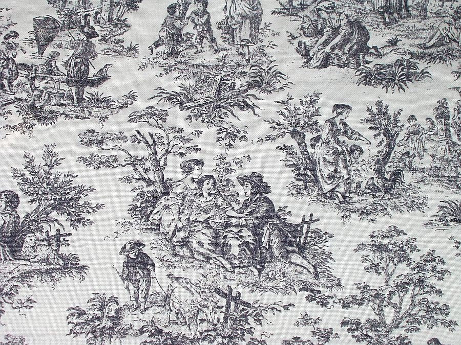 Waverly Fabric Toile Rustic Life Black White Decorator Fabric