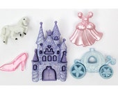 Jesse James Buttons Happily Ever After Novelty Button Set Cinderella Dress Castle Fairy Tale