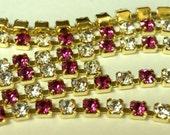 Swarovski Fuchsia Pink and Crystal Rhinestone 4mm Chain (1) Foot