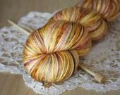 Hand Dyed Yarn / Fingering Weight / Gold Golden Garnet Moss Sansa / Silk Merino Wool
