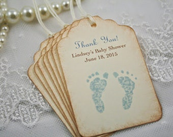 Baby Footprint Tags Personalized Baby Shower Tags Thank You Favor Tags