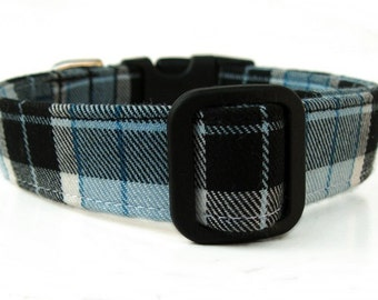 Plaid Dog Collar in Black Sky Blue and White