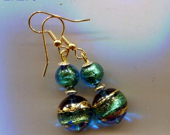 Murano Venetian Crystal, Gold Fill and Gold Swirls Foil Earrings ER278