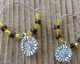Silver Sunflower Charm and Crystal Bead Hoop Earrings