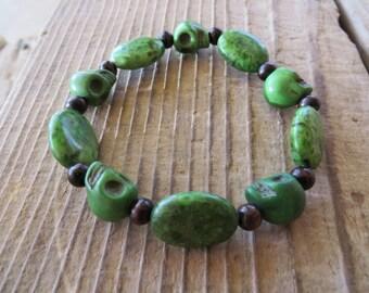 Green Skull And Jasper Beaded Stretch Bracelet