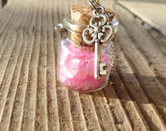 Jar of Hearts Apothecary Jar Necklace with Key Charm