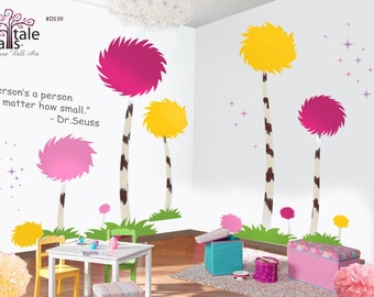Super Large Truffula Trees Wall decal for nursery. Colorful Cotton Pompom trees wall decal for a playroom, baby room. d539.