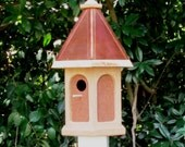 Handcrafted unfinished Wood Bird House with copper roof