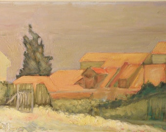 Roofs in Jerusalem, an original oil on canvas painting