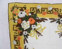 Handkerchief, Bouquets of Bright Orange & White Flowers with Brown and Green Leaves, Rolled Hem