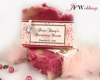 4 Vegan Large SOAP Favors ~ Bridal Shower ~ Weddings ~ Pink Filligree Labels in Custom designs and Handmade ~  Made in 7 days