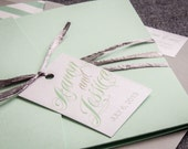 Mint Wedding Invitations, Modern Invitations, Summer Garden Wedding, Silver and Green Sweeping Script - Pocketfold, No Layers, v2 - DEPOSIT