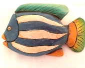 Handmade Painted Carved Wooden Colorful FISH Huge 3D Blue White Green Orange Figural Pin Brooch Authentic Vintage Jewelry talkingfashion 80s