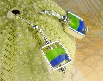 GENUINE Rare Cobalt Blue And Lime Green Sea Glass Earrings Sterling Silver Squares