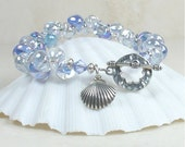 Glass Bracelet Bridesmaid Jewelry Crystal Clear Periwinkle Blue Light Violet with Silver Charm