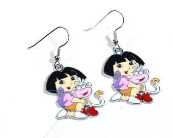 Dora the Explorer running with Backpack and Boots Enamel Charm Earrings - Kids Earrings