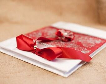Wedding Guest Book - Elegant Red -  Romantic, Modern Elegant Weddings