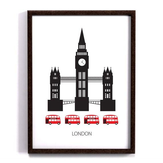 Items similar to london poster art print scandinavian for Scandinavian furniture london