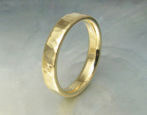 comfort fit wedding band -- 4mm hammered wedding ring in 18k gold