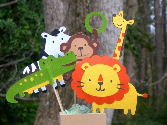 Jungle animals table decorations made to by celebrationpaperco - Deco table jungle ...