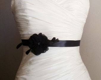 Wedding Sash Bridesmaid Mini Ashley - Black  on Black Mini Sash