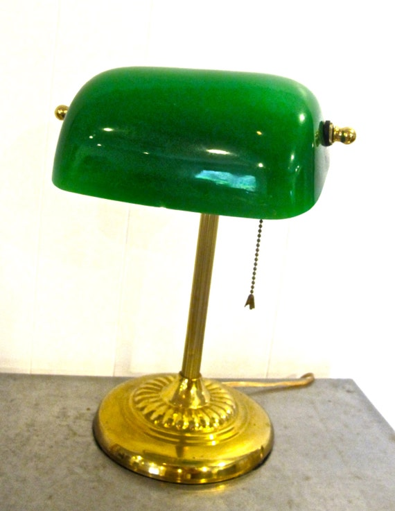 Vintage Library Lamp 1940s 50s Green Glass Desk Lamp