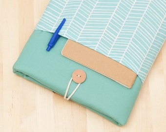 Microsoft Surface sleeve, Microsoft Surface Case, Surface Cover, Surface Book case, Surface Pro 3 Case, padded with pockets - sea lines -