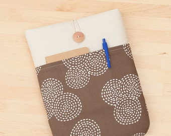 Laptop sleeve /  MacBook Air 11 sleeve, 12 inch Macbook case, padded with pockets - brown spirals-