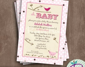 Baby Shower Invitation, Birth Announcement, Pink and Chocolate Birds, Printable