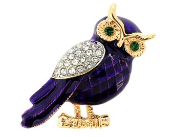 Enamel Purple Owl Crystal Pin Brooch 1003981