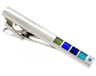 Light Sapphire Blue Grid Tie Clip 1800077