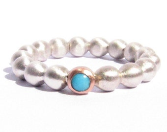 Turquoise Ring - Solid Rose Gold and Silver Ring -  Beaded Ring - Stacking Ring - MADE TO ORDER.