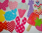 12 Iron On Baby Girl Fabric Applique Assortment..Duck/Giraffe/Bunny/Butterfly/Popsicle..Great For Baby Shower Onesie Making/Quilts/Onesies