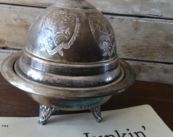 Vintage 1950's Serving Dish Silver Plated Footed With Lid