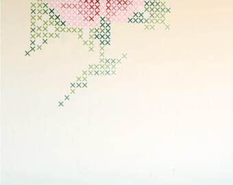cross stitch wall decal l- rose  wall art , wall sticker houseware crossstitch