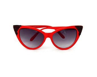 Red Cat Eye Sunglasses with Black Rhinestones, Pinup, Rockabilly, Retro