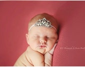 White Silver Pearl Rhinestone Tiara Skinny Elastic Headband/newborn headband/newborn photography prop/rhinestone headband/baby headband