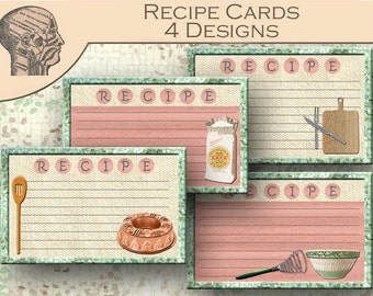 Printable Recipe Cards Kitchen Utensils Print at Home DIY Project Graphics