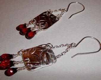 PMC, Silver Clay, Sterling Silver Garnet Gemstone dangle handmade earrings