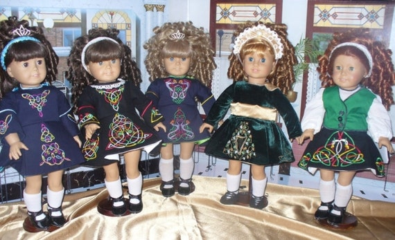 "Custom made to order Irish Dance School Dress for 18"" American Girl Doll"