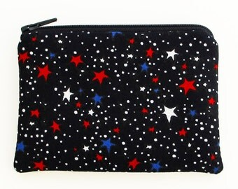 Red White and Blue Stars Coin Purse Small Zipper Pouch