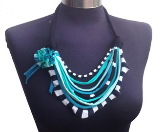 crazy turquoise black & white cotton fabric african style with fabric recycle flower-winter women fabric jersey necklace-textile jewelry
