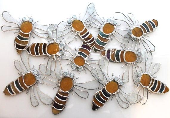 Honey Bee ornament, stained glass, bee sun catcher, golden bee,