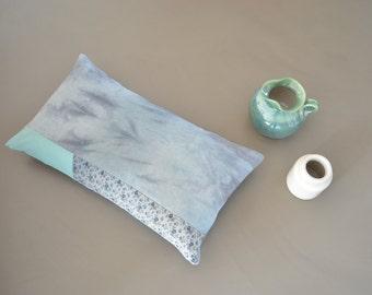 blue hand dyed lumbar pillow cover - flower landscape - aqua blue pillow cover - horizon series - lumbar pillow - rustic home decor