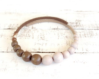 Beige Brown Necklace, Beaded Crochet Choker, memory wire expandable necklace
