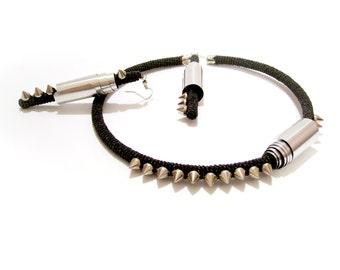 Black Metallic Spike Necklace Earrings Set, Heavy Metal Jewelry, Rocker Style, Rock n Roll Chic, Cyber Party