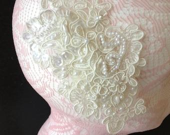 The OLIVIA - ivory lace bridal headpiece, ivory lace bridal clip, ivory lace hair accessory