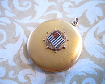 Art Deco Gold Filled Locket w Nautical Flag Emblem