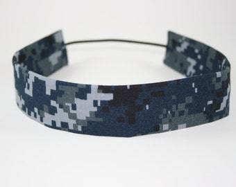 NWU Navy Child Headband Military Blue Digital Camo